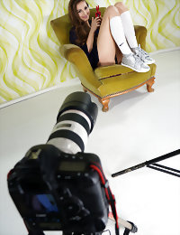 Behind the scene young naked blonde
