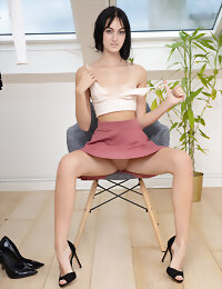 Black haired model playing